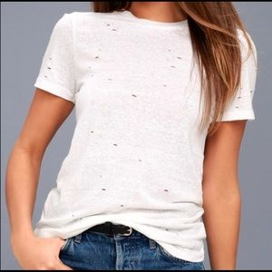 Lulus White Distressed Tee Medium